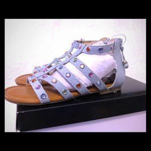Girls Stevies Denim Sandals w/ 🌈 gems